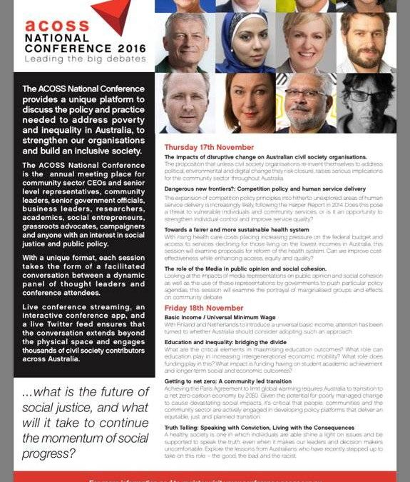 Gillian Triggs at the ACOSS conference in November — Subject — Truth Telling. I kid you not
